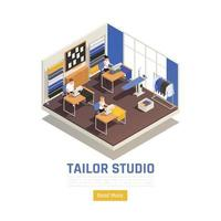 Fashion Atelier Isometric Composition Vector Illustration