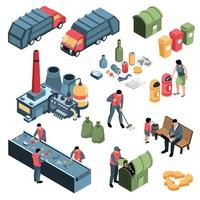 Isometric Garbage Recycling Set Vector Illustration