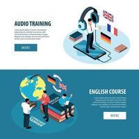 Banners de formación de idiomas establecen ilustración vectorial vector