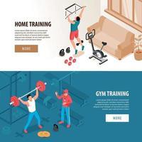 Isometric Fitness Sport Banners Vector Illustration