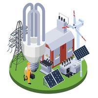 Electricity Isometric Illustration Vector Illustration