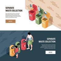 Ilustración de vector de banners horizontales de recogida de residuos