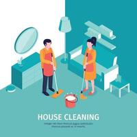 House Cleaning Isometric Background Vector Illustration