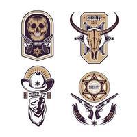 Cowboy Emblems Set Vector Illustration