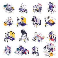 Journalistis Reporters News Media Isometric Icon Set vector