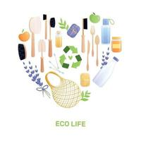 Eco Life Flat Composition Vector Illustration
