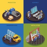 Window Production Isometric Concept Vector Illustration