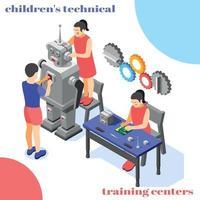 Children Technical Training  Background Vector Illustration