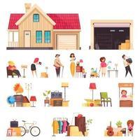 venta de garaje iconos conjunto ilustración vectorial vector
