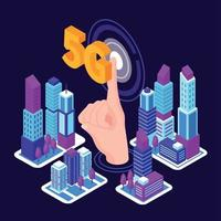 5G City Connect Composition Vector Illustration