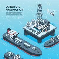 Offshore Petroleum Production Background Vector Illustration