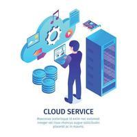 Cloud Hosting Service Background Vector Illustration