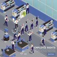 Trade Union Action Isometric Composition Vector Illustration