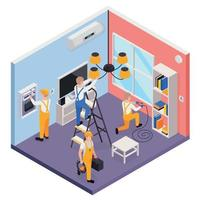 Electricity Isometric Composition Vector Illustration