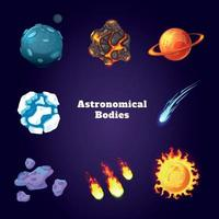 Conjunto de dibujos animados de cuerpos astronómicos ilustración vectorial vector