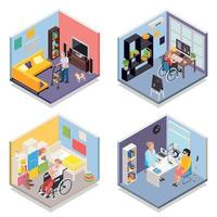 Disabled People Isometric 2x2 Set Vector Illustration