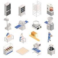 Bakery Isometric Set Vector Illustration