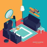 Room Cleaning Isometric Composition Vector Illustration