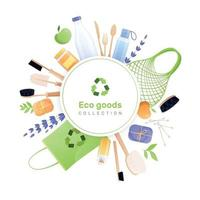 Eco Goods Round Composition Vector Illustration