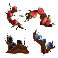 Chocolate Splash And Berries Set Vector Illustration