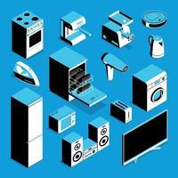 Isometric Home Appliances Set Vector Illustration