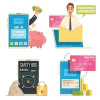 Mobile Bank Concept Icons Set Vector Illustration