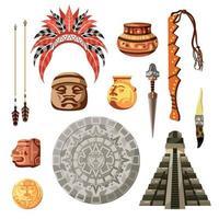Maya Civilization Culture Icon Set Vector Illustration