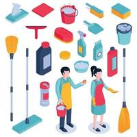 Isometric Cleaning Housework Set Vector Illustration