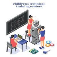 Children Technical Training Composition Vector Illustration