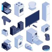 Isometric Domestic Machines Set Vector Illustration