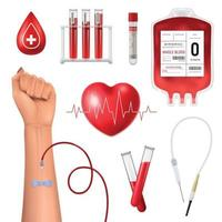 Realistic Blood Donor Set Vector Illustration
