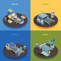Glass Production Isometric Concept Vector Illustration