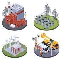 Electricity Isometric 2x2 Design Concept Vector Illustration