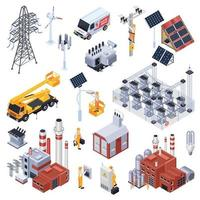 Electricity Isometric Icons Set Vector Illustration