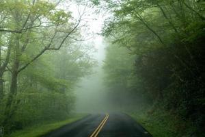 Conduzca temprano por la mañana a través de Blue Ridge Parkway en primavera foto