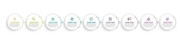 Vector Infographic Design with Icons and 9 Options or Steps