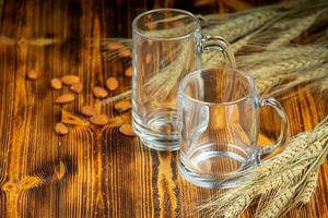 Glasses placed on the wooden table photo