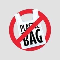 No Plastic Bag Concept. vector