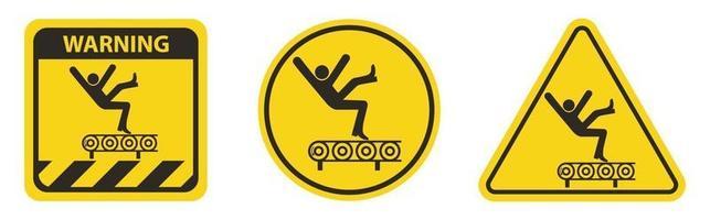 Fall Hazard From Conveyor Symbol Sign vector