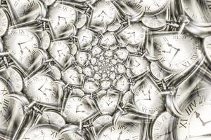 Fondo de efecto droste con espiral de reloj infinito. foto