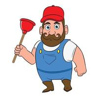 Plumber Holding Plunger Cartoon Character Working vector