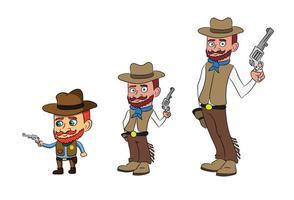 Cowboy Men Tall To Small Holding Gun Cartoon Character vector