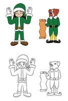 personaje de dibujos animados de perro chico elfo verde vector