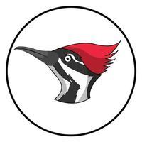Woodpecker Head Cartoon Character Bird Icon vector