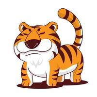 tigre gordito de dibujos animados con personaje de mascota de cola larga vector