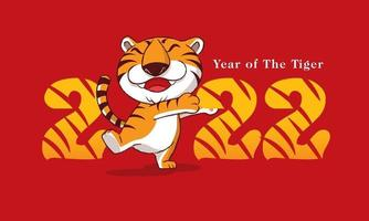 Happy New Year 2022. Cartoon cute tiger with smile hugging number vector