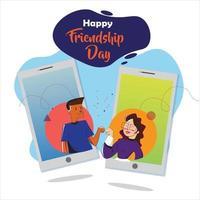 Poster of online friendship day celebration. vector