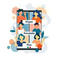 Poster of Friends celebrates friendship day on a video call. vector