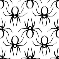spider seamless pattern black and white vector