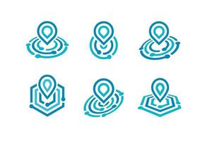 Pin on map icon set. Navigation logo radar symbol, location sign vector